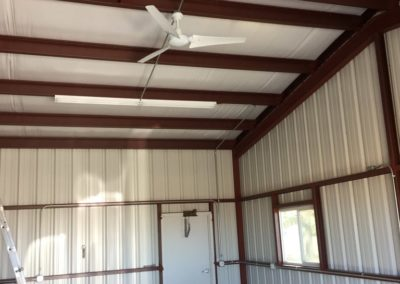 Metal Building Overhead Lighting and Ceiling Fan Installation